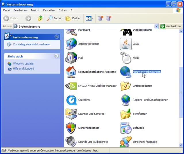 WinXP Systemsteuerung: Windows XP, Systemsteuerung, Netzwerkverbindungen aktiviert