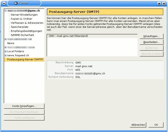 Thunderbird - SMTP-Servereinstellungen fuer SSL